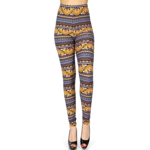Wholesale Q75A Baroque heaerts print softbrush leggings