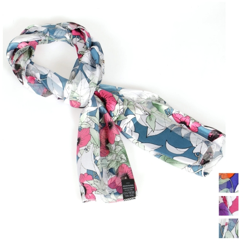 Wholesale M37C Wild flower print satin scarf