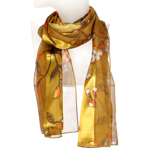 Wholesale N10B Flower drawing satin scarf