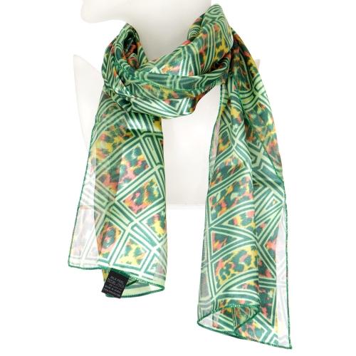 Wholesale N15A Geometric animal print satin scarf