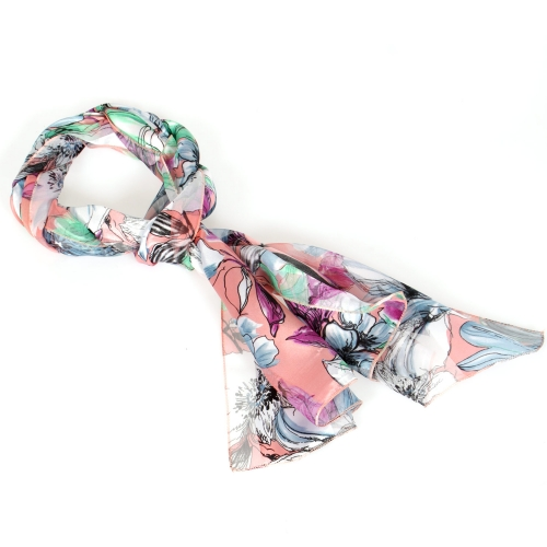 Wholesale N13B Botanical print satin scarf