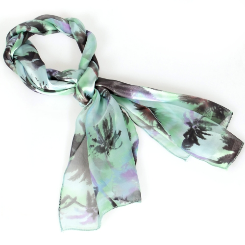 Wholesale M29A Palm tree print satin scarf