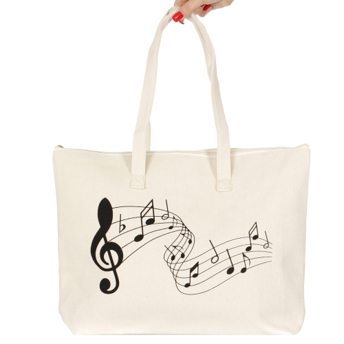 wholesale V83B Cotton canvas beach shoulder bag Music note BK