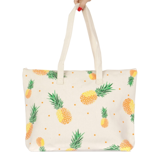 wholesale V84C Cotton canvas beach shoulder bag Pineapple BK