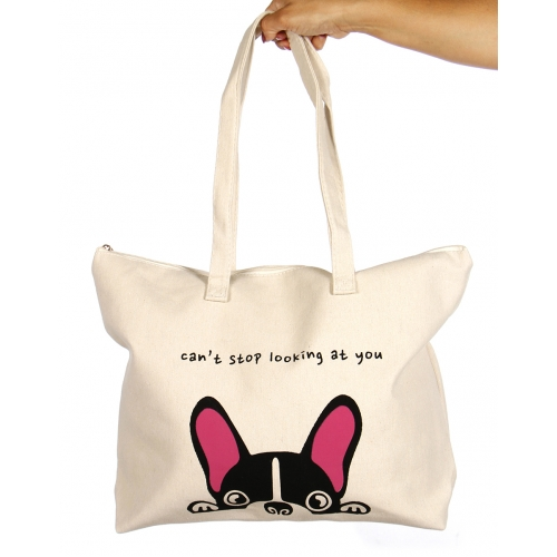 wholesale V83C Cotton canvas beach shoulder bag CAN'T STOP LOOKING AT YOU BK