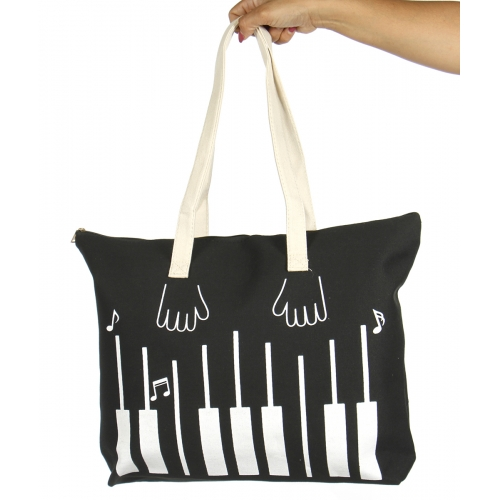 wholesale V79B Cotton canvas beach shoulder bag Piano BK