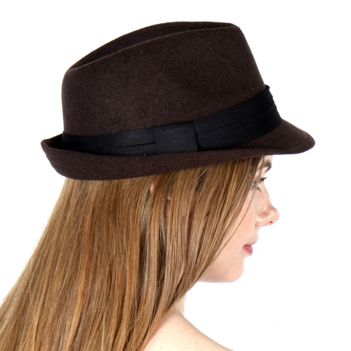 Wholesale V77B Wool Feel Fedora Hat BK