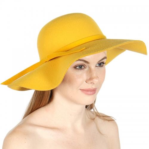 Wholesale V27 Poly felt floppy hat with knot Black