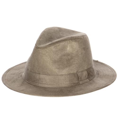 Wholesale W82 Simple faux suede panama hat Black