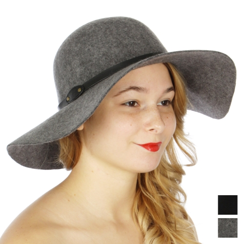 Wholesale W28 Wool felt floppy hat w/ PU band & 2 studs Black