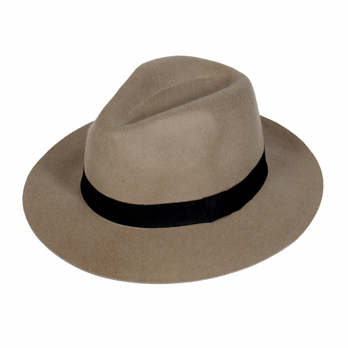 Wholesale V77 Wool felt panama hat w/ grosgrain band Black