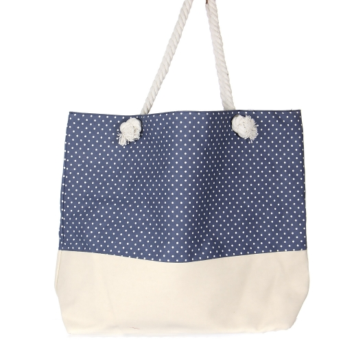 Wholesale S59B Extra large canvas beach bag Polka dot NAV