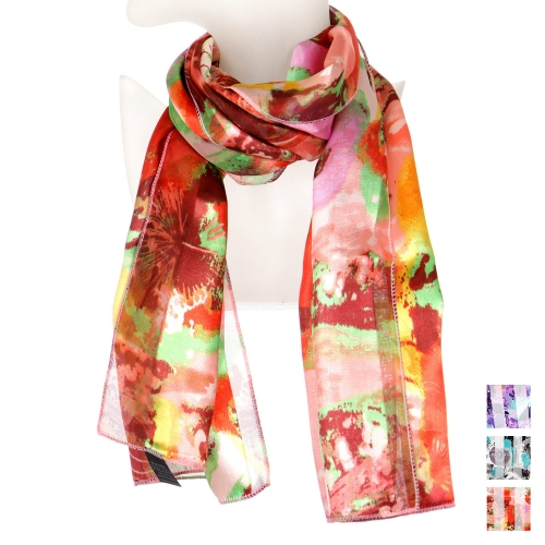 Wholesale N15A Big floral satin scarf