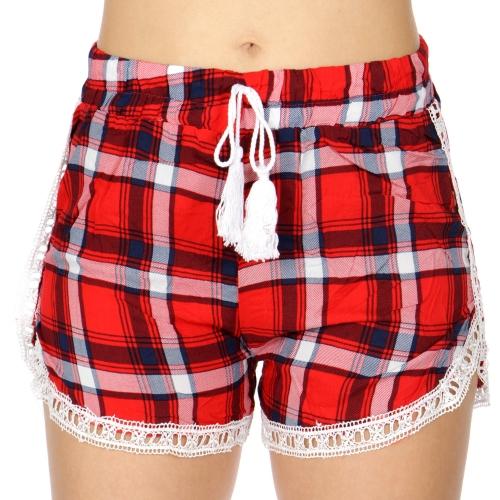 Wholesale P11B Lace trim shorts Plaid Red/Black