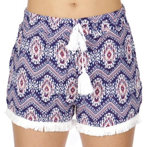 Wholesale P10C Tassel trim shorts Tribal Blue/Orange