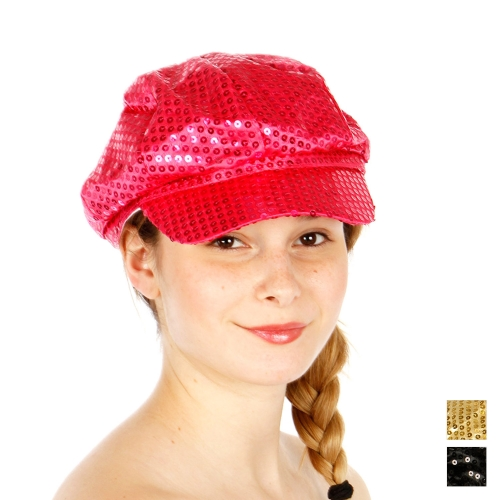 Wholesale R53E Baker Boy Sequins Hat BLK
