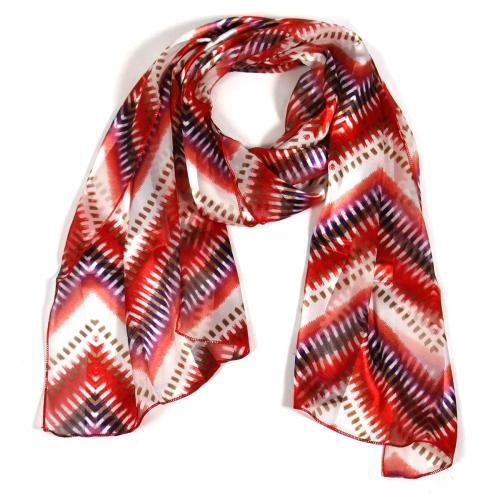 Wholesale O42B Summer ikat pattern satin scarf