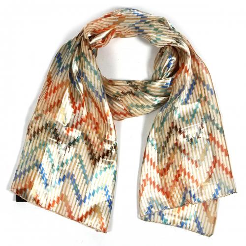 Wholesale O42B Abstract chevron satin scarf