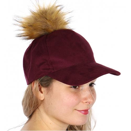 Wholesale W17 Faux suede baseball cap with fur pompom Black
