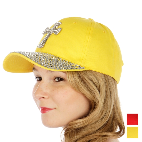 Wholesale V75 Studded rhinestone cross baseball cap RD