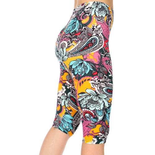 Wholesale C15B Jacobean and paisley print capri leggings
