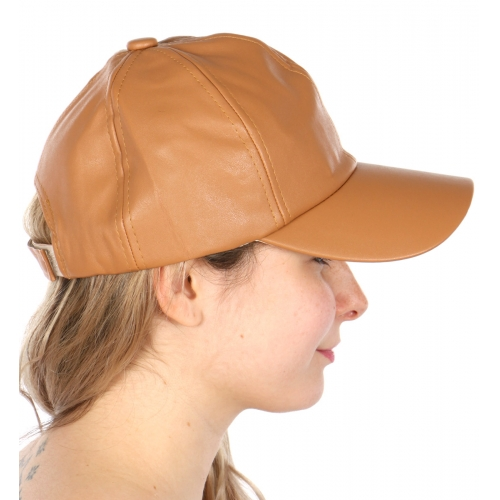 Wholesale S25 Solid faux leather baseball cap w/ velcro closure COR