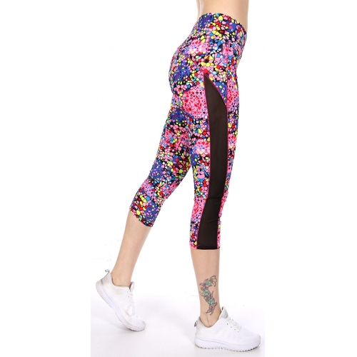 Wholesale C06E Side mesh panel capri activewear leggings PK/YL