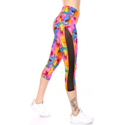 Wholesale C06E Side mesh panel capri activewear leggings CO/BL
