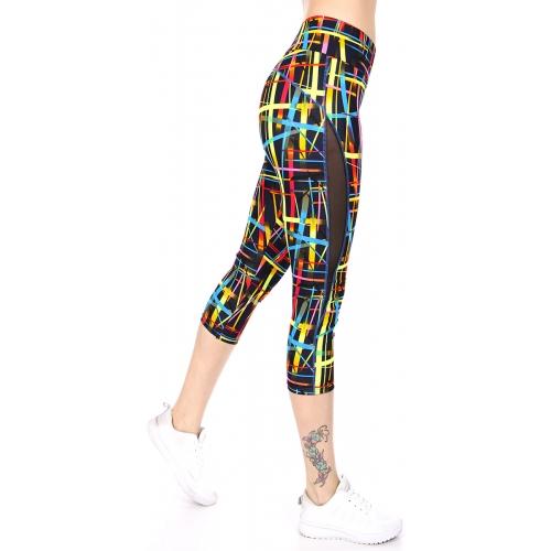Wholesale E22CBX0 Mesh panel capri activewear leggings BK/YL