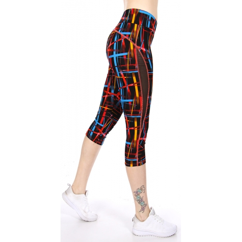 Wholesale E22CBX0 Mesh panel capri activewear leggings BK/BL