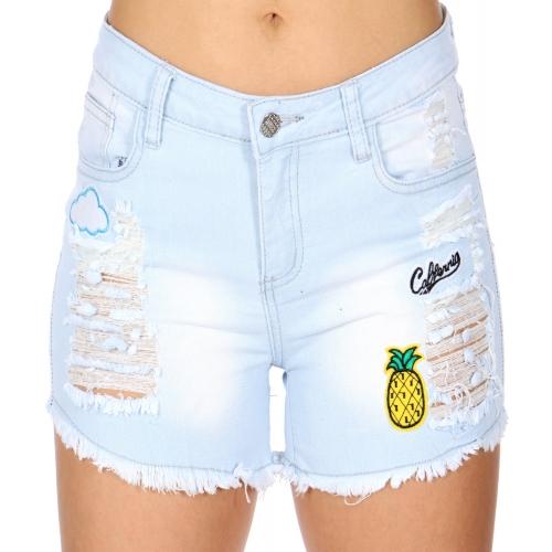 Wholesale P03E Patch distressed denim shorts