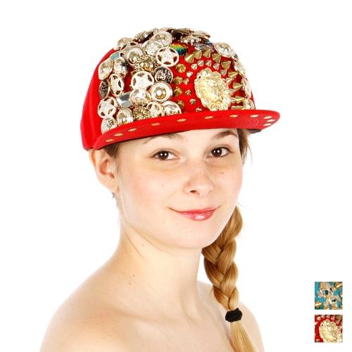 Wholesale T24D Bling Bling Metal Studded Hat GDRED