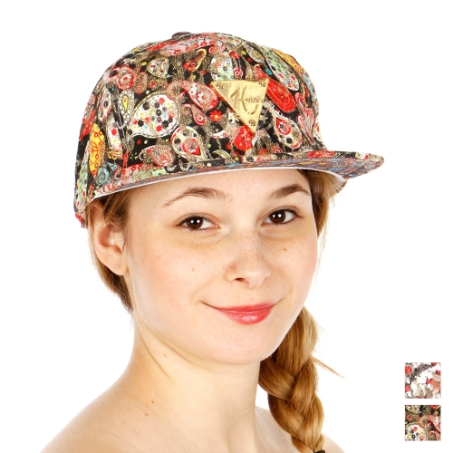 Wholesale R54A Paisley Print Snapback Hat BKGRN