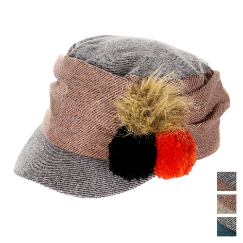 wholesale K77 Woven cadet cap with fur and knit poms Black