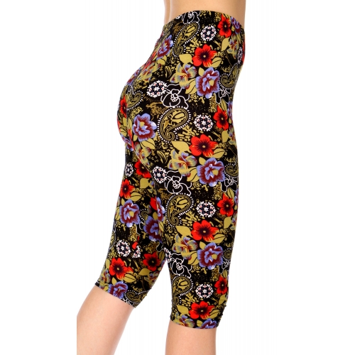 Wholesale C13B Paisley floral capri leggings