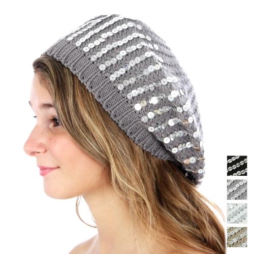wholesale F06 Sequin knit beret Black fashionunic