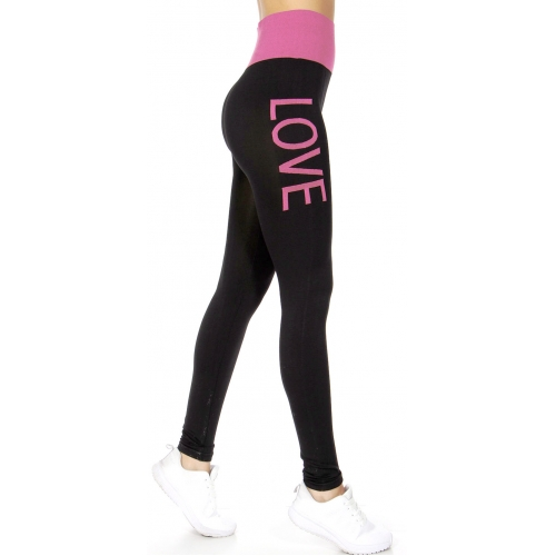 wholesale E22 Two-tone Love leggings Coral Plus size