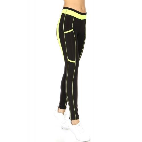 Wholesale A23C Contrast Binding Active Pants BLK/N.CRL