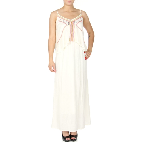 Wholesale K54B Colorful stripes embroidery flounce top maxi dress WHITE