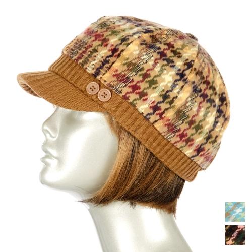 Wholesale BX90 Houndstooth knit cabbie hat Camel