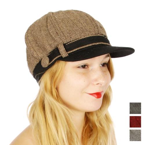 Wholesale V66A Herringbone newsboy hat w/ button Brown