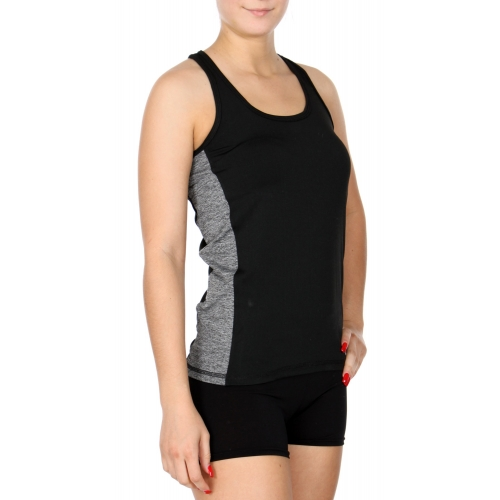 Wholesale E16 Side colorblock racerback active tank top BK/GY