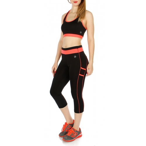 Wholesale K43E Contrast Band Active Crop Top and Pants Set Black/N.Coral