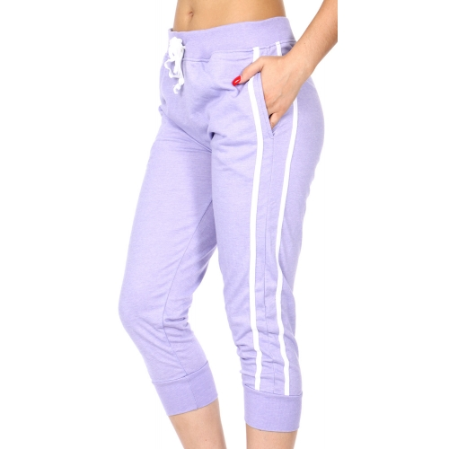 Wholesale C18E Striped French terry capri jogger pants Lavender