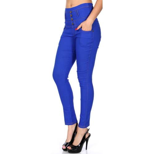 Wholesale C08 High waisted buttoned stretch pants Black