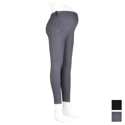 Wholesale R54B Adjustable waist band pocket maternity leggings Black