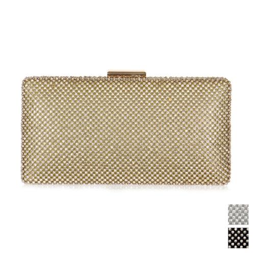 Wholesale N15C Rhinestone rectangular evening clutch bag PU