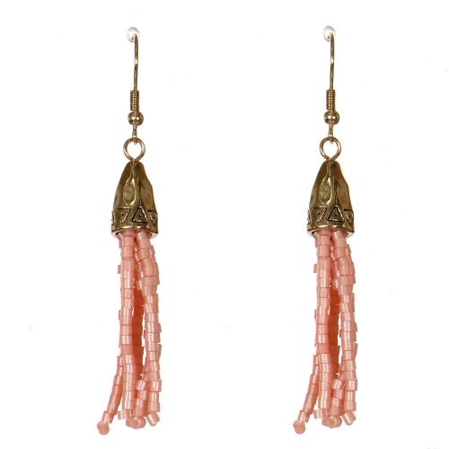 Wholesale WA00 Tribal bell & beads tassel earrings GDPK