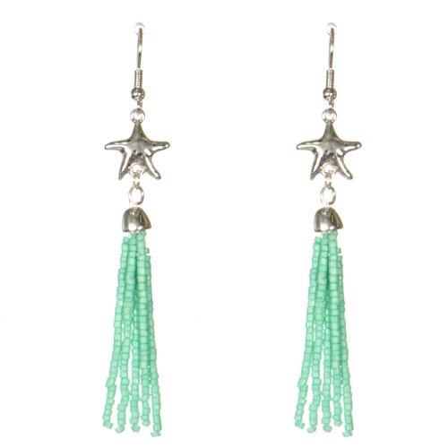 Wholesale WA00 Starfish & beads tassel earrings GN