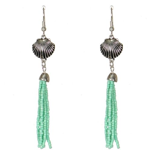 Wholesale WA00 Seashell & beads tassel earrings GN
